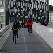 Bicycles crossing the bridge